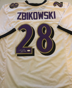 TOM ZBIKOWSKI Autographed Baltimore Ravens White Football Jersey JSA COA
