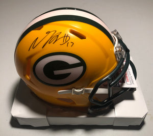 DAVANTE ADAMS Autographed Green Bay Packers Yellow Mini Helmet JSA COA