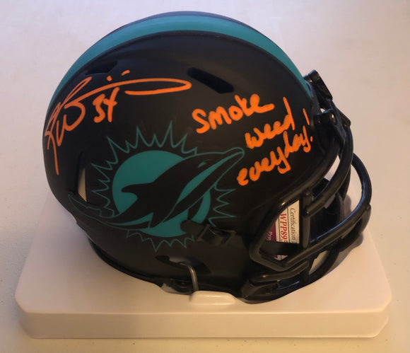 RICKY WILLIAMS Autographed Smoke Weed Everyday! Inscription Miami Dolphins Eclipse Exclusive Mini Helmet JSA COA