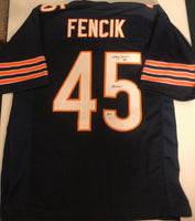 "Gary Fencik Autographed ""Hitman"" Chicago Bears Navy Football Jersey Beckett COA"