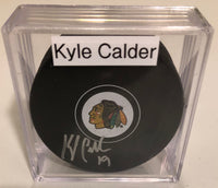 KYLE CALDER Autographed Chicago Blackhawks Hockey Puck JSA COA