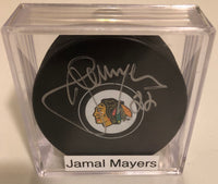 Jamal Mayers Autographed Chicago Blackhawks Hockey Puck JSA COA