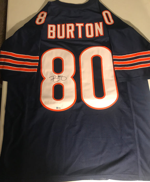 TREY BURTON Autographed Chicago Bears Navy Football Jersey Beckett COA
