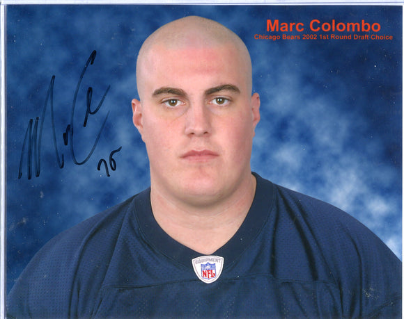 MARC COLOMBO Autographed 8x10 Photo Chicago Bears