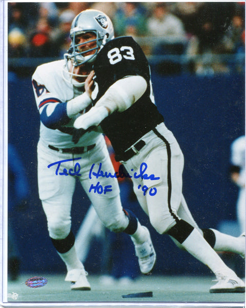 "TED HENDRICKS Autographed 8x10 Photo ""HOF '90"" Oakland Raiders Schwartz COA"