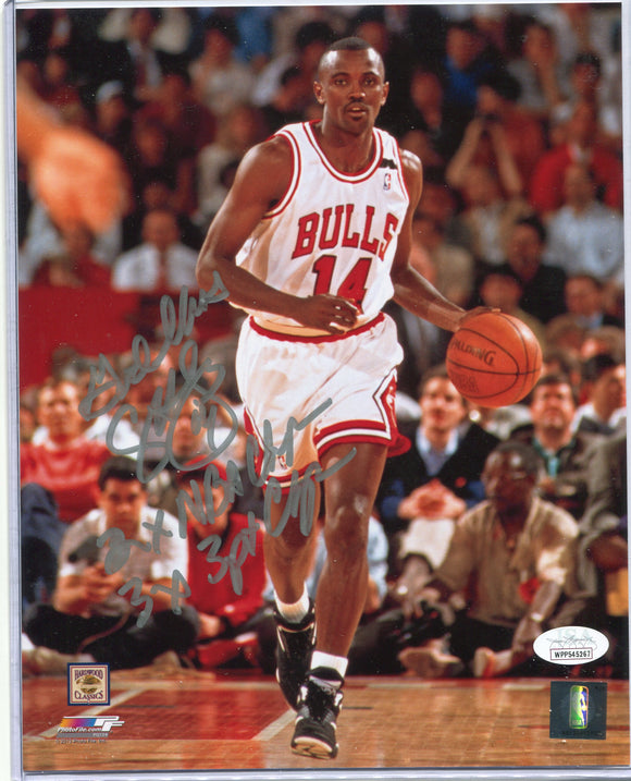 "CRAIG HODGES Autographed 8x10 Photo ""God Bless, 2x NBA Champ, 3x 3pt. Champ"" Chicago Bulls JSA COA"