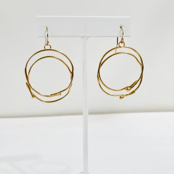 Double Trouble Sterling Silver and Gold Plated Hoops