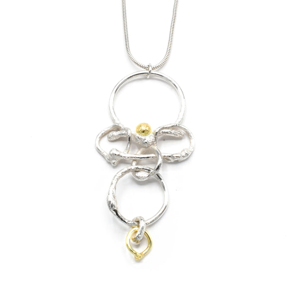 18 K Yellow Gold and Sterling Silver Sculpted Mobile Necklace for Women