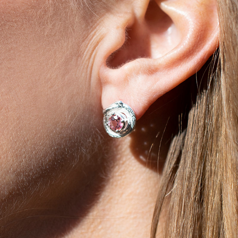 Iso Pink Topaz Stud Earrings