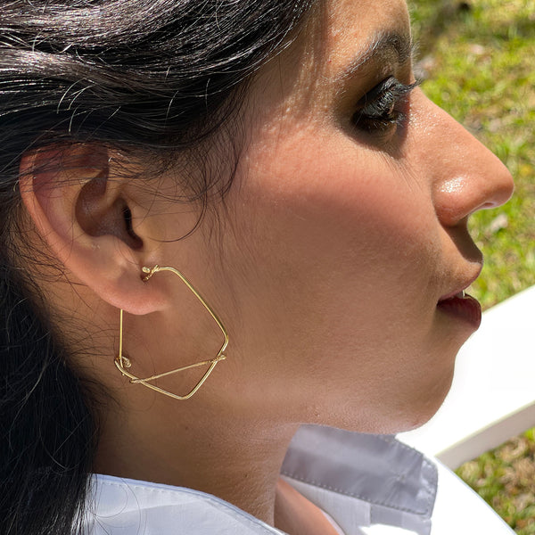 Diamond Line Silver and Gold Plated Hoops