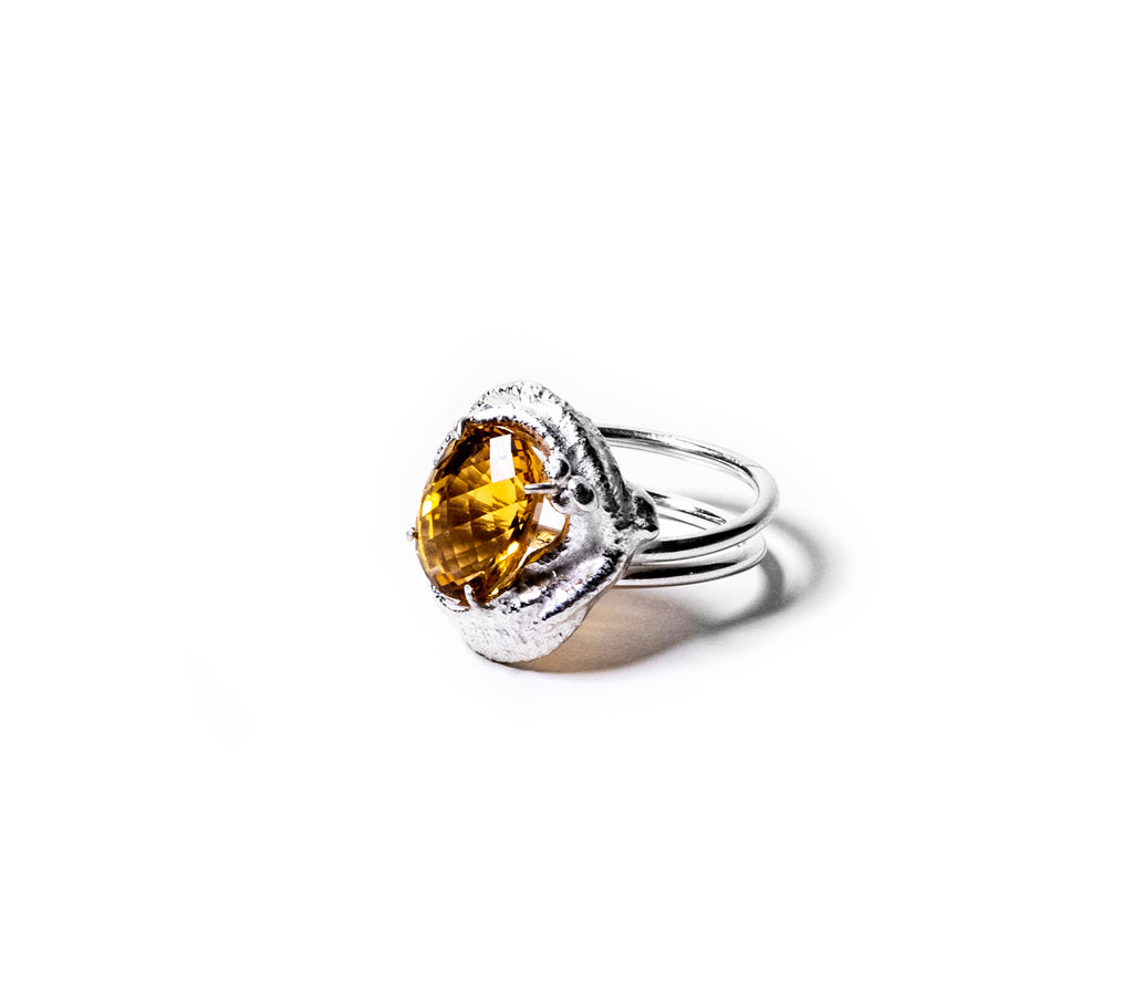 Iso Checkered Citrine Cocktail Ring