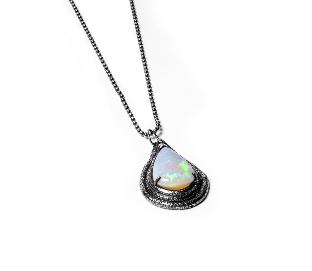 Iso Sterling Opal Antiqued Pendant