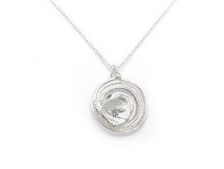 Iso Diamond Pendant with Chain in Sterling Silver for Women