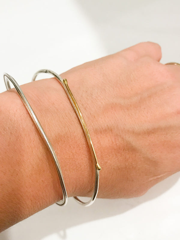 18k Yellow Gold and Sterling Silver Bangle Women's Jewelry