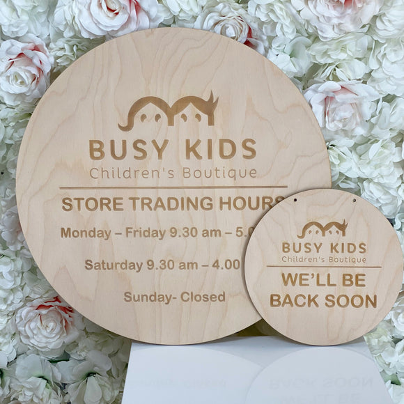 Business Logo Engraved Timber Sign - Round