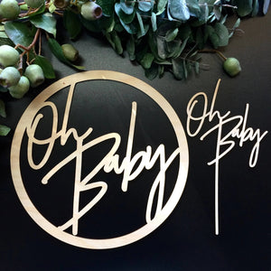 Timber Baby Shower Pack - Oh Baby Sign and Cake Topper