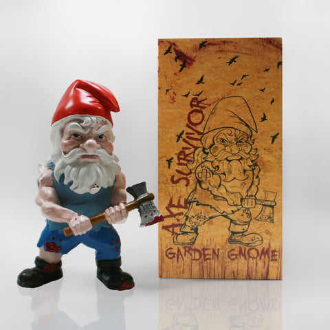 Zombie Survivor Garden Gnome Front with Box
