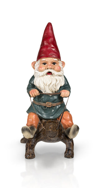 Garden Gnome Riding Turtle 14""