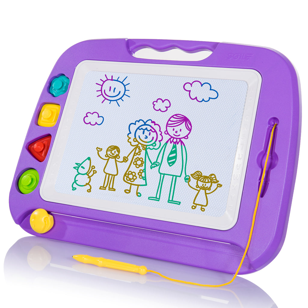 SGILE Large Magnetic Doodle Board, Magnetic Erasable Drawing Pad Gift for Kids Toddler (Purple)