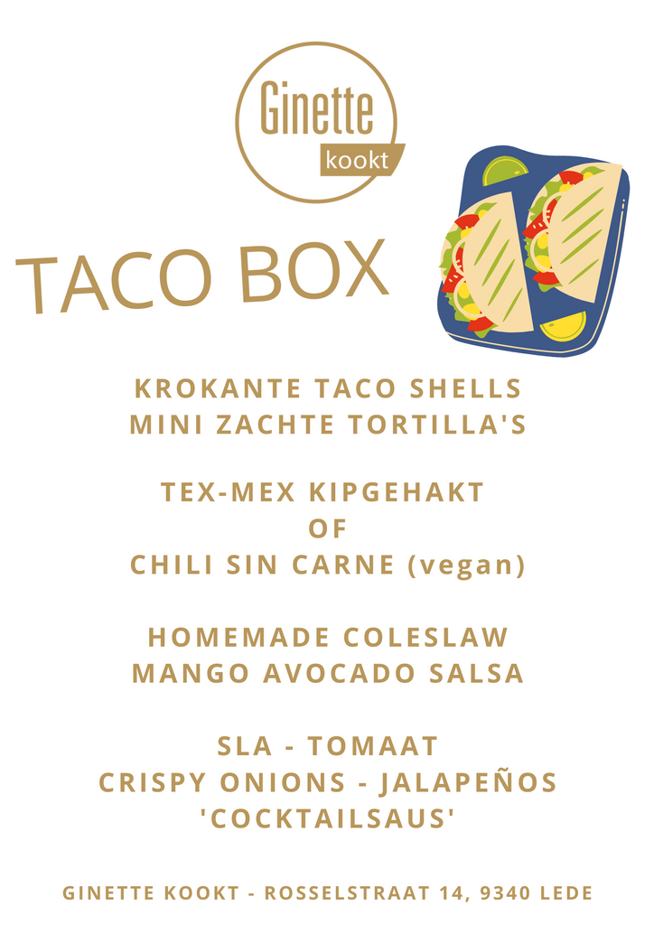 Taco box met tex-mex kipgehakt of vegan