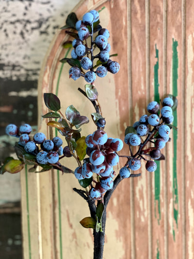Faux Blueberry Cluster Branch