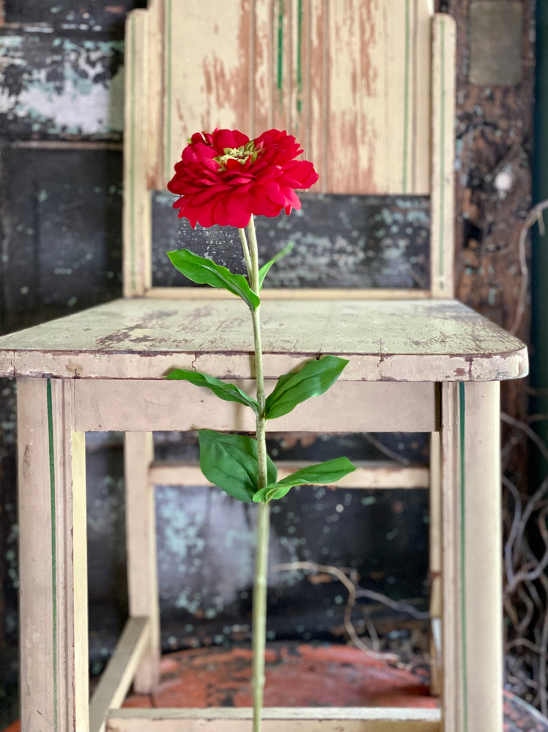 Faux Zinnia Bloom & Bud Stem