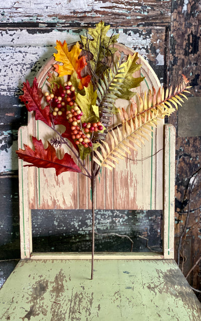 Faux Fall Berry & Leaf Pick