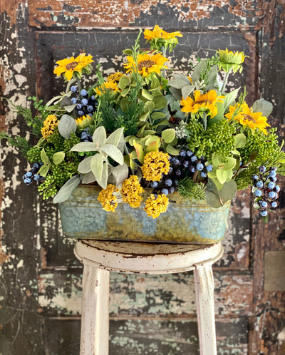 The Suzanne Sunflower & Blueberry Centerpiece