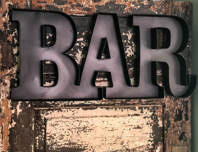 Vintage Style Black Metal Bar Sign