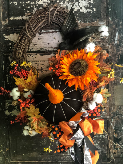 The Coraline Black White & Orange Fall Primitive Wreath