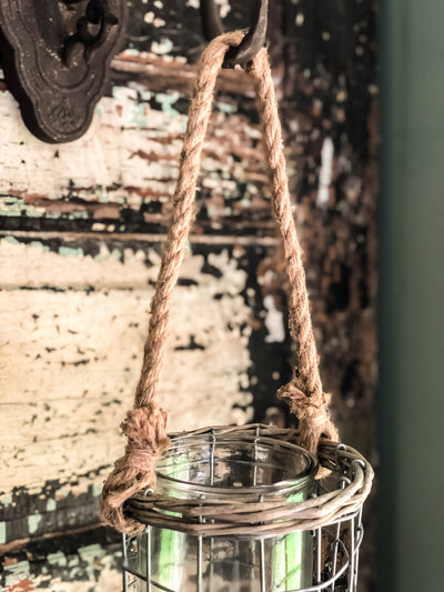 Wired Glass Votive Candle Holder With Jute Rope