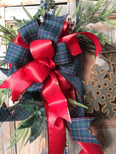 The Merida rustic farmhouse Winter wreath/red and navy plaid/winter wreath/pine wreath/wreath for door/country snowflake wreath