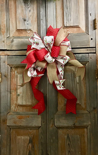 The Daisy Burlap & Plaid Deer Bow