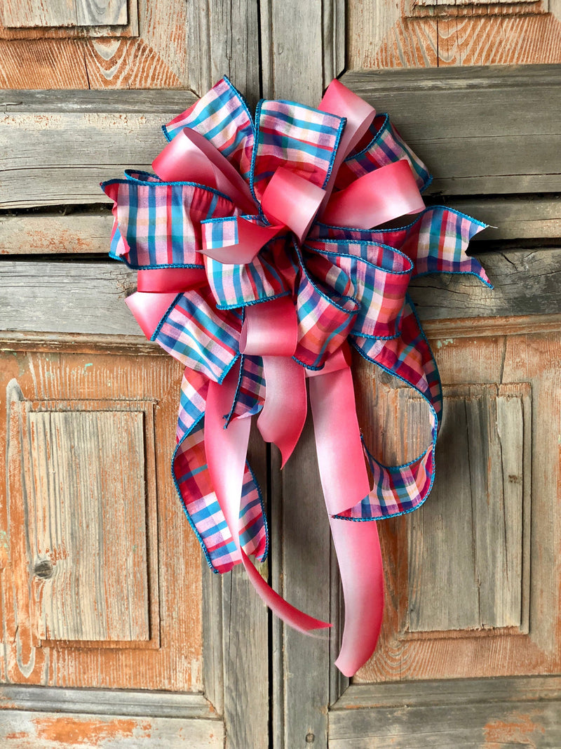 The Ava Pink & Blue Bow