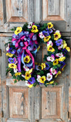 The Penelope pansy wreath for front door/winter spring wreath/wedding wreath/valentines day wreath/easter wreath/pink and purple