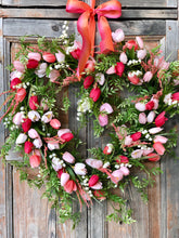 Load image into Gallery viewer, The Shelby heart shaped spring tulip wreath/spring wreath/easter wreath/wedding wreath/wreath for front door/wedding decor