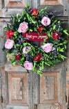 The Fiona spring mix wreath for front door/easter wreath/wedding wreath/love you to the moon/pink and white wreath/spring wreath for door