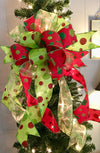 The Betty Lou Hoo Christmas tree topper bow~wreath bow~swag bow~red and green Christmas bow~polka dot bow~bow for wreaths~mailbox bow