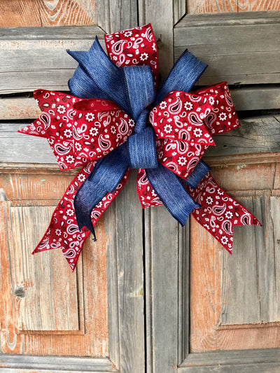 The Janice Red Paisley Blue Jean Bow