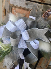 Load image into Gallery viewer, The Spencer white and gray lantern swag // rustic lodge lantern swag // lantern swag // snowy white swag //winter lantern swag