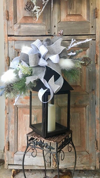 The Spencer white and gray lantern swag // rustic lodge lantern swag // lantern swag // snowy white swag //winter lantern swag