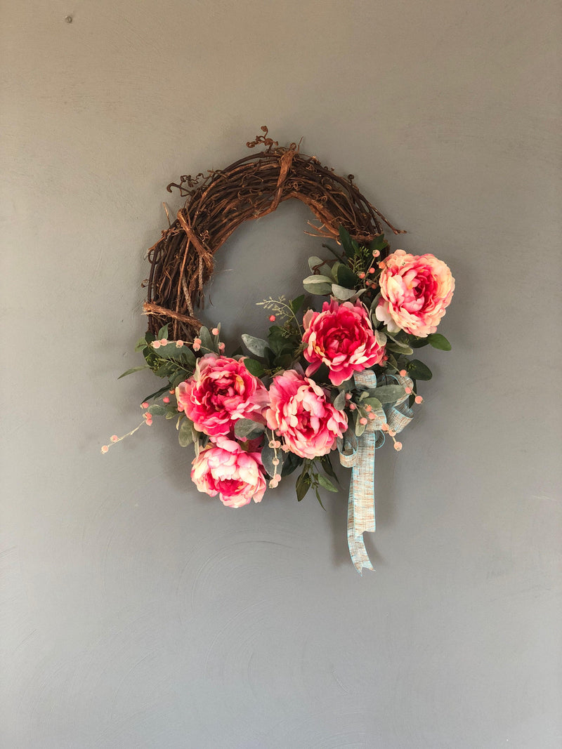 The Annabelle raspberry and cream peony wreath for front door~spring wreath~easter wreath~wedding wreath~farmhouse wreath~spring decor