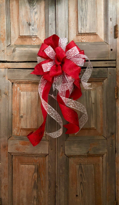 The Sarah Red & White Winter Bow
