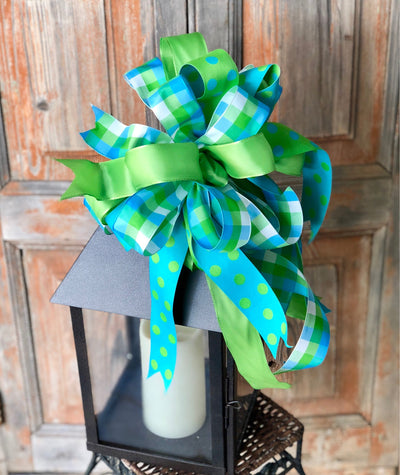 The Tatum Blue Green Plaid bow