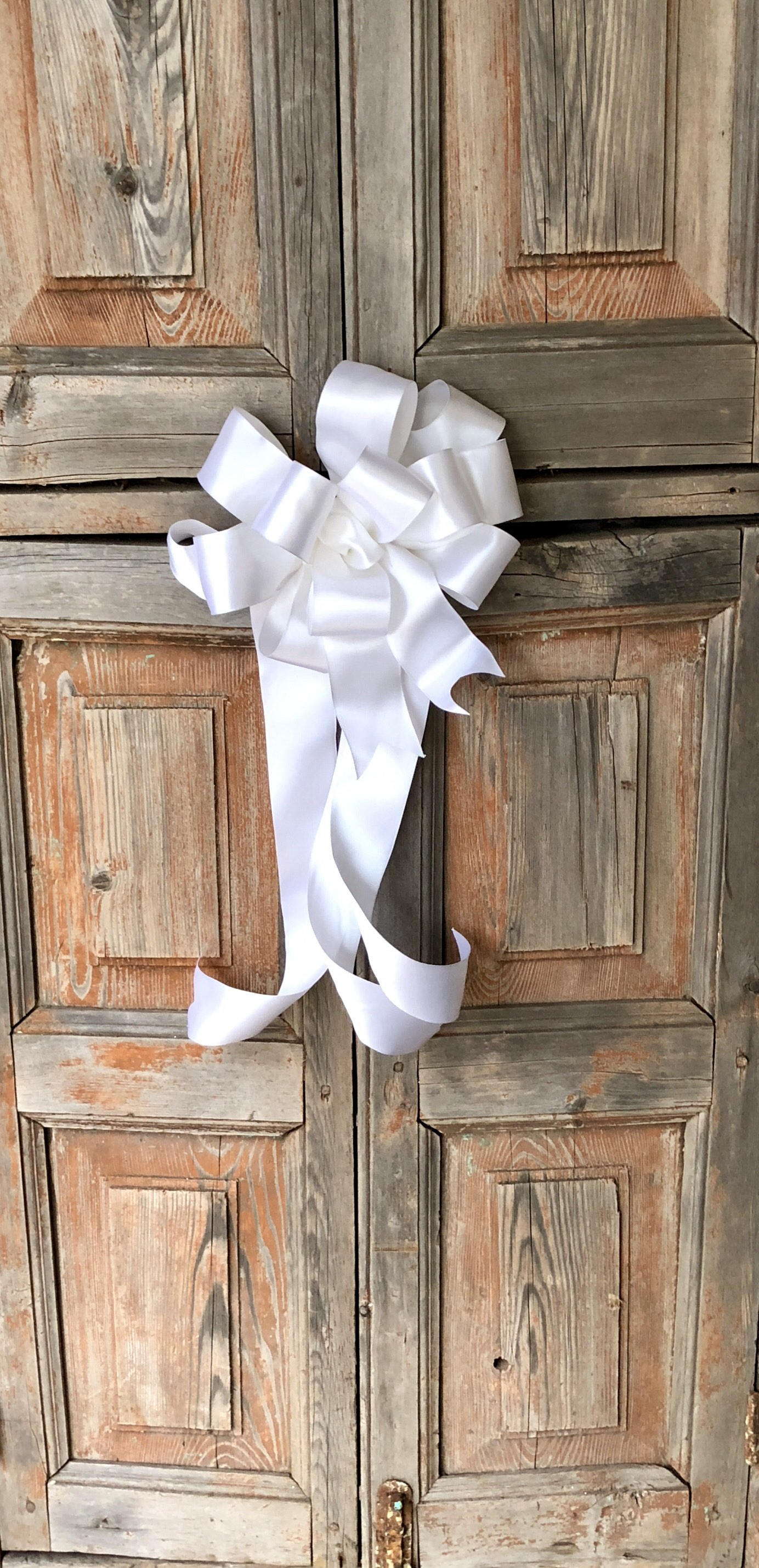 The Olivia White Satin Bow