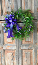 Load image into Gallery viewer, The Nina spring hyacinth wreath/easter wreath/mixed fern wreath/natural look wreath/farmhouse wreath for front door/wedding wreath