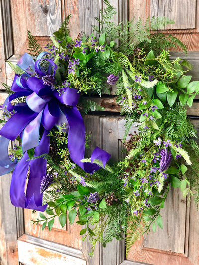 The Nina spring hyacinth wreath/easter wreath/mixed fern wreath/natural look wreath/farmhouse wreath for front door/wedding wreath
