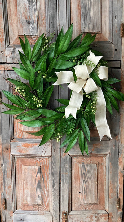 The Willow mixed greenery spring wreath/easter wreath/spring wreath for front door/spring decor/natural look wreath/fixer upper style wreath