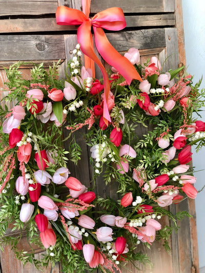 The Shelby heart shaped spring tulip wreath/spring wreath/easter wreath/wedding wreath/wreath for front door/wedding decor