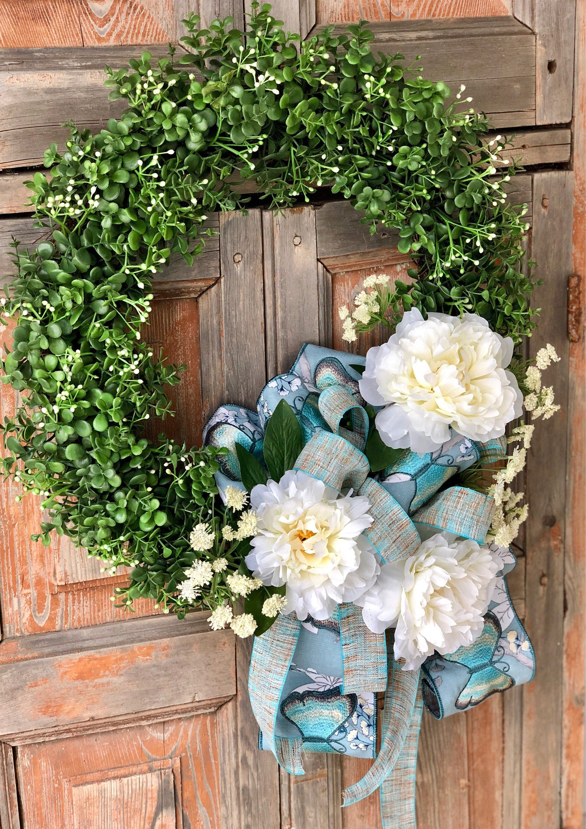 Spring wreaths for front door~The Bridgett spring butterfly peony wreath for front door~spring decor~easter wreath~farmhouse wreath~boxwood